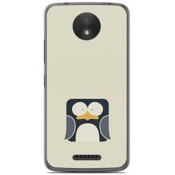 Funda Gel Tpu para Motorola Moto C Plus Diseño Pingüino Dibujos