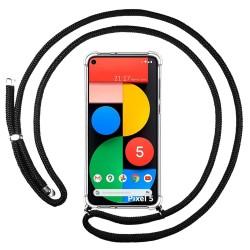 Funda Colgante Transparente para Google Pixel 5 5G con Cordon Negro