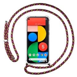 Funda Colgante Transparente para Google Pixel 5 5G con Cordon Rosa / Dorado