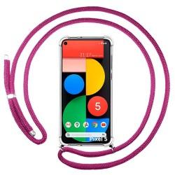 Funda Colgante Transparente para Google Pixel 5 5G con Cordon Rosa Fucsia