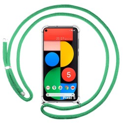 Funda Colgante Transparente para Google Pixel 5 5G con Cordon Verde Agua