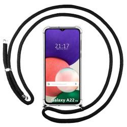 Funda Colgante Transparente para Samsung Galaxy A22 5G con Cordon Negro