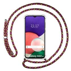 Funda Colgante Transparente para Samsung Galaxy A22 5G con Cordon Rosa / Dorado