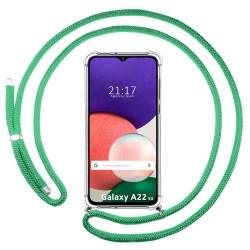 Funda Colgante Transparente para Samsung Galaxy A22 5G con Cordon Verde Agua