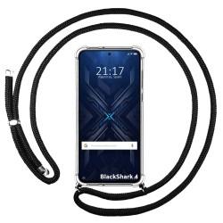 Funda Colgante Transparente para Xiaomi Black Shark 4 5G con Cordon Negro