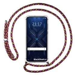 Funda Colgante Transparente para Xiaomi Black Shark 4 5G con Cordon Rosa / Dorado