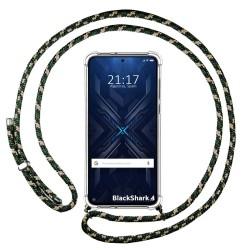 Funda Colgante Transparente para Xiaomi Black Shark 4 5G con Cordon Verde / Dorado