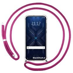 Funda Colgante Transparente para Xiaomi Black Shark 4 5G con Cordon Rosa Fucsia