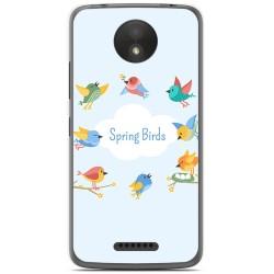 Funda Gel Tpu para Motorola Moto C Plus Diseño Spring Birds Dibujos