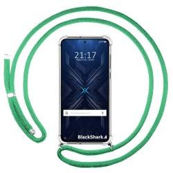 Funda Colgante Transparente para Xiaomi Black Shark 4 5G con Cordon Verde Agua