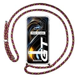 Funda Colgante Transparente para Realme GT 5G con Cordon Rosa / Dorado