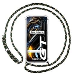 Funda Colgante Transparente para Realme GT 5G con Cordon Verde / Dorado