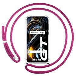 Funda Colgante Transparente para Realme GT 5G con Cordon Rosa Fucsia
