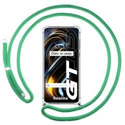 Funda Colgante Transparente para Realme GT 5G con Cordon Verde Agua