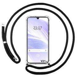 Funda Colgante Transparente para Vivo V21 5G con Cordon Negro