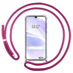Funda Colgante Transparente para Vivo V21 5G con Cordon Rosa Fucsia