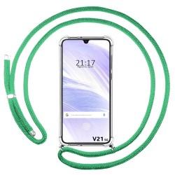 Funda Colgante Transparente para Vivo V21 5G con Cordon Verde Agua