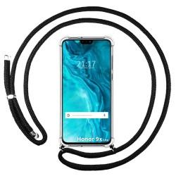 Funda Colgante Transparente para Huawei Honor 9X Lite con Cordon Negro
