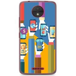 Funda Gel Tpu para Motorola Moto C Diseño Apps Dibujos
