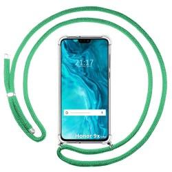 Funda Colgante Transparente para Huawei Honor 9X Lite con Cordon Verde Agua