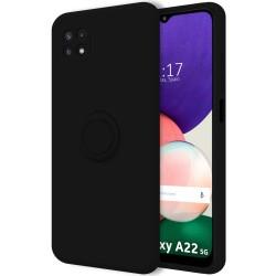 Funda Silicona Líquida Ultra Suave con Anillo para Samsung Galaxy A22 5G color Negra