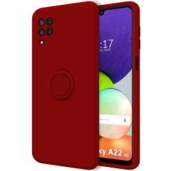 Funda Silicona Líquida Ultra Suave con Anillo para Samsung Galaxy A22 LTE 4G color Roja