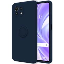 Funda Silicona Líquida Ultra Suave con Anillo para Xiaomi Mi 11 Lite 4G / 5G color Azul