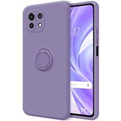 Funda Silicona Líquida Ultra Suave con Anillo para Xiaomi Mi 11 Lite 4G / 5G color Morada