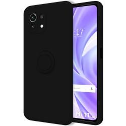 Funda Silicona Líquida Ultra Suave con Anillo para Xiaomi Mi 11 Lite 4G / 5G color Negra