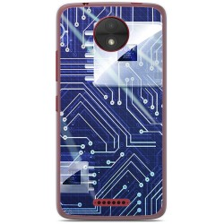 Funda Gel Tpu para Motorola Moto C Diseño Circuito Dibujos