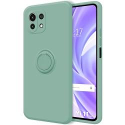 Funda Silicona Líquida Ultra Suave con Anillo para Xiaomi Mi 11 Lite 4G / 5G color Verde