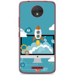 Funda Gel Tpu para Motorola Moto C Diseño Cohete Dibujos