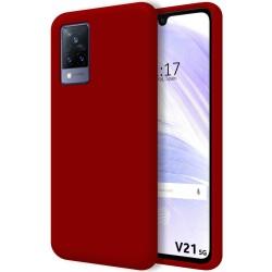 Funda Silicona Líquida Ultra Suave para Vivo V21 5G color Roja