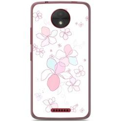 Funda Gel Tpu para Motorola Moto C Diseño Flores Minimal Dibujos