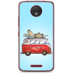 Funda Gel Tpu para Motorola Moto C Diseño Furgoneta Dibujos