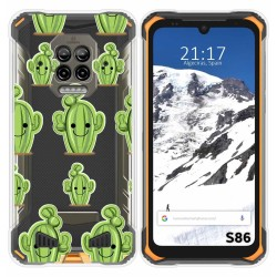 Funda Silicona Transparente para Doogee S86 / S86 Pro diseño Cactus Dibujos