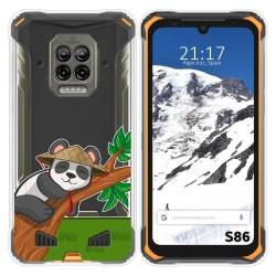 Funda Silicona Transparente para Doogee S86 / S86 Pro diseño Panda Dibujos