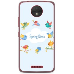 Funda Gel Tpu para Motorola Moto C Diseño Spring Birds Dibujos