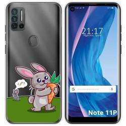 Funda Silicona Transparente para Ulefone Note 11P diseño Conejo Dibujos