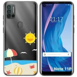 Funda Silicona Transparente para Ulefone Note 11P diseño Playa Dibujos