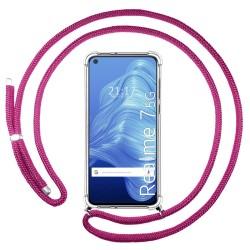 Funda Colgante Transparente para Realme 7 5G con Cordon Rosa Fucsia
