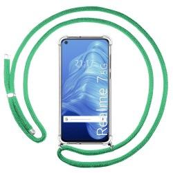 Funda Colgante Transparente para Realme 7 5G con Cordon Verde Agua