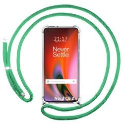 Funda Colgante Transparente para OnePlus Nord 2 5G con Cordon Verde Agua