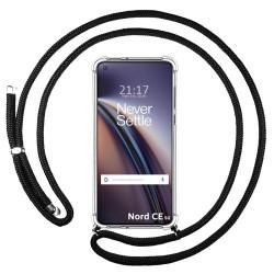 Funda Colgante Transparente para OnePlus Nord CE 5G con Cordon Negro