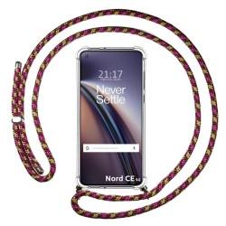 Funda Colgante Transparente para OnePlus Nord CE 5G con Cordon Rosa / Dorado