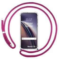 Funda Colgante Transparente para OnePlus Nord CE 5G con Cordon Rosa Fucsia