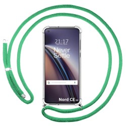 Funda Colgante Transparente para OnePlus Nord CE 5G con Cordon Verde Agua