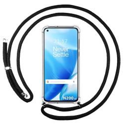 Funda Colgante Transparente para OnePlus Nord N200 5G con Cordon Negro