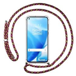Funda Colgante Transparente para OnePlus Nord N200 5G con Cordon Rosa / Dorado