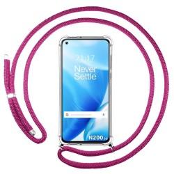 Funda Colgante Transparente para OnePlus Nord N200 5G con Cordon Rosa Fucsia